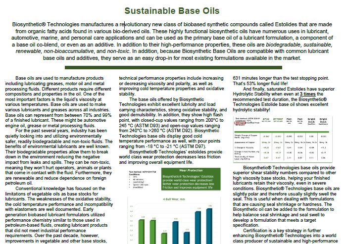 An Article on Sustainable Base Oils by Mark Miller